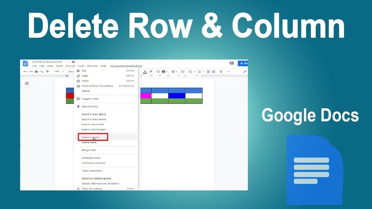 How To Delete Row And Column Of Table In Google Docs With