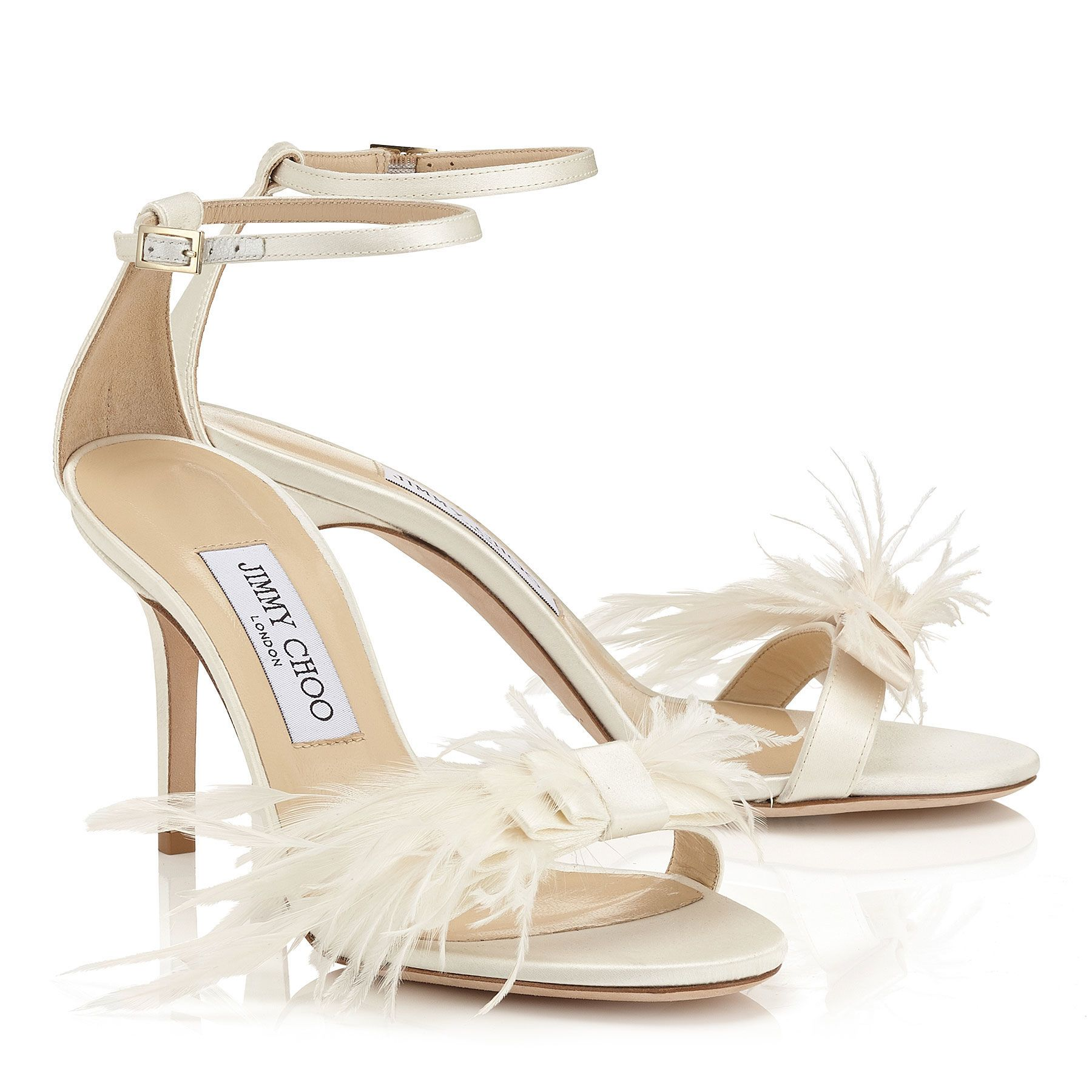 Ivory Satin Sandals with Feather Bow Vivien 85 Cruise