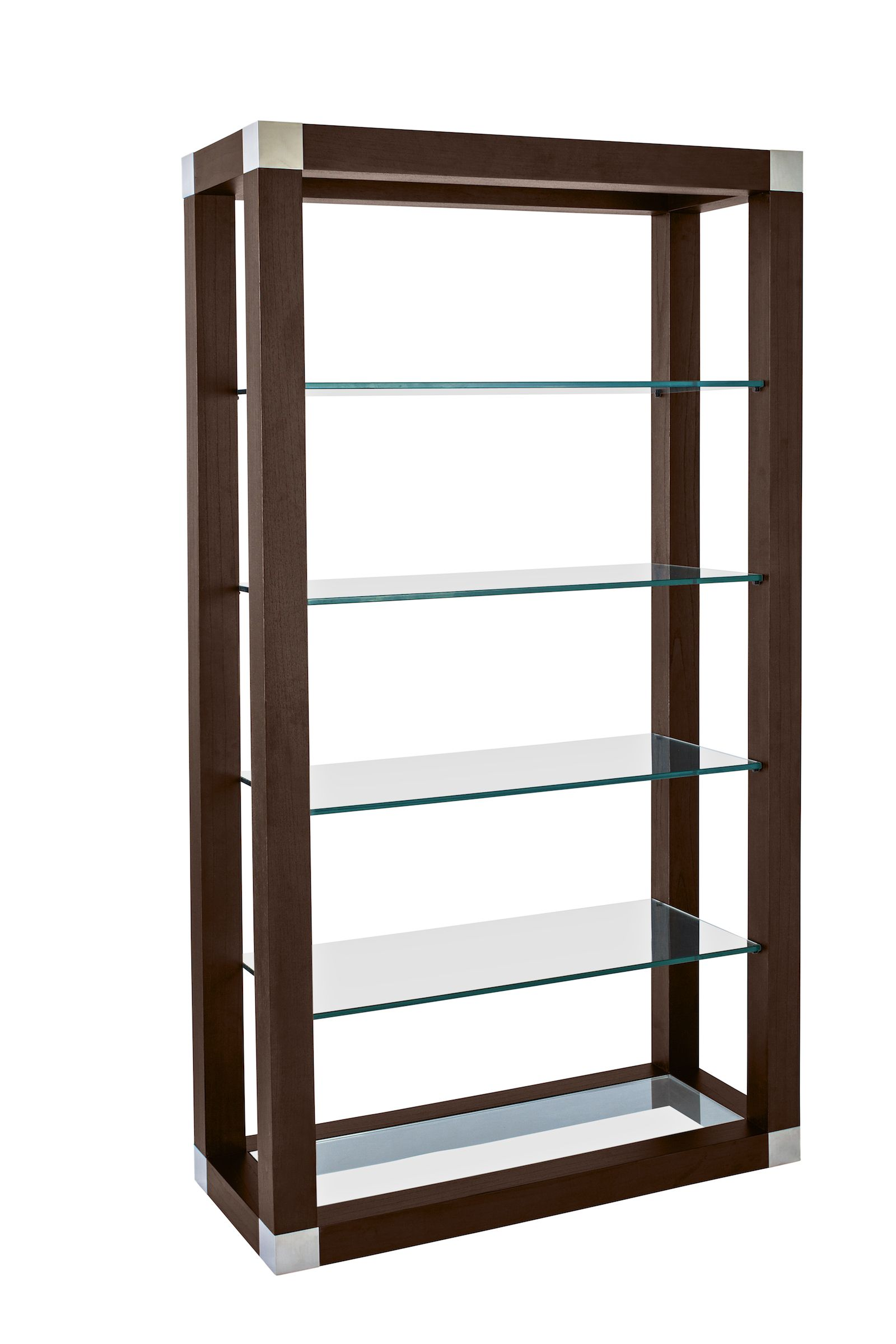Calligraphy Bookcase Espresso On Kulin With Stainless Steel Accents And 1 2 Thick Clear Tempered Glass Shelving With Images Shelves Wall Shelves Glass Shelves