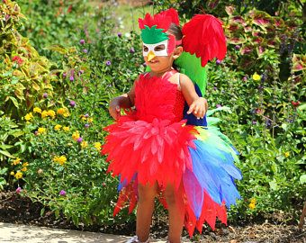parrot costume macaw costume parrot tutu halloween costume pageant outfit parrot red tutu. Black Bedroom Furniture Sets. Home Design Ideas