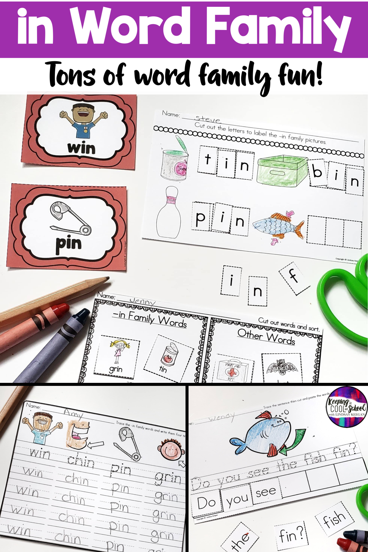 In Word Family Worksheets