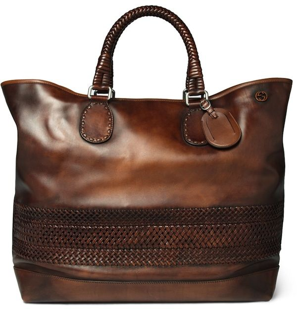 Gucci Woven Leather Holdall Bag