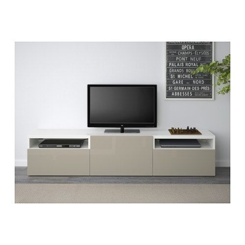 Ikea Best 197 Tv Bench White Selsviken High Gloss Beige