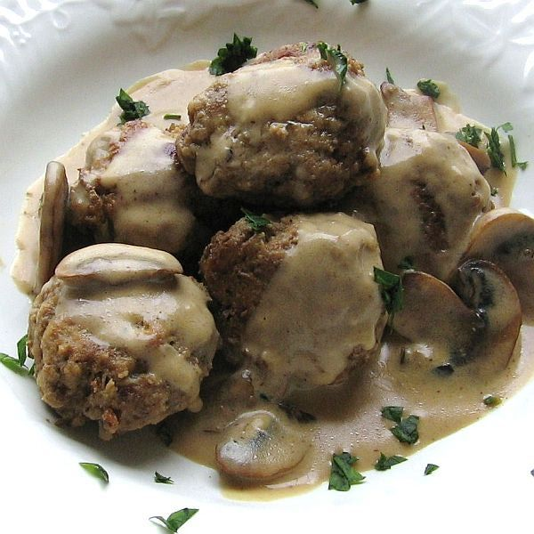 Meatballs Awash In Delicious Mushroom Sour Cream Sauce Recipe Recipes Polish Meatballs Stuffed Mushrooms