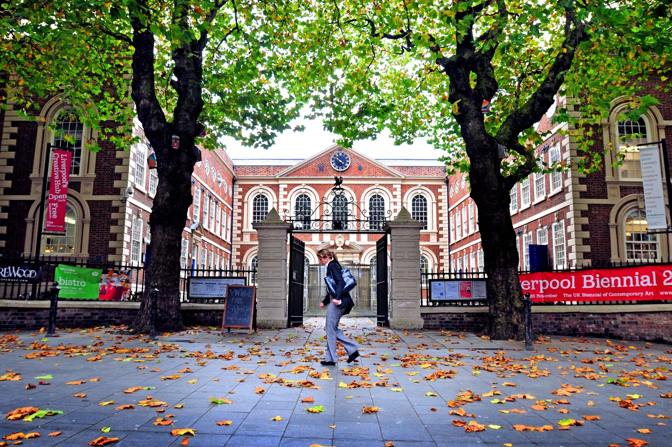 Windy weather outside the Bluecoat, Liverpool Echo