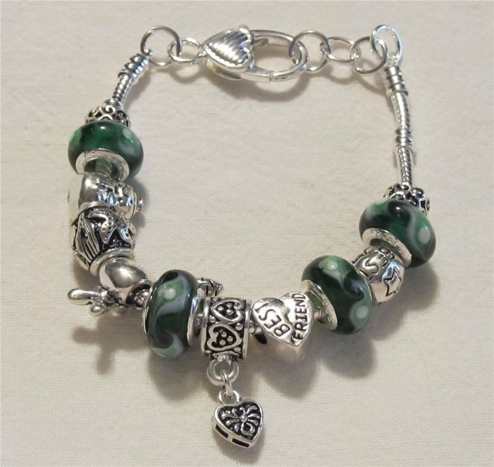 New Green & Silver Plated Murano Bead Best Friend Charm Bracelet~ Gift Box # Charm
