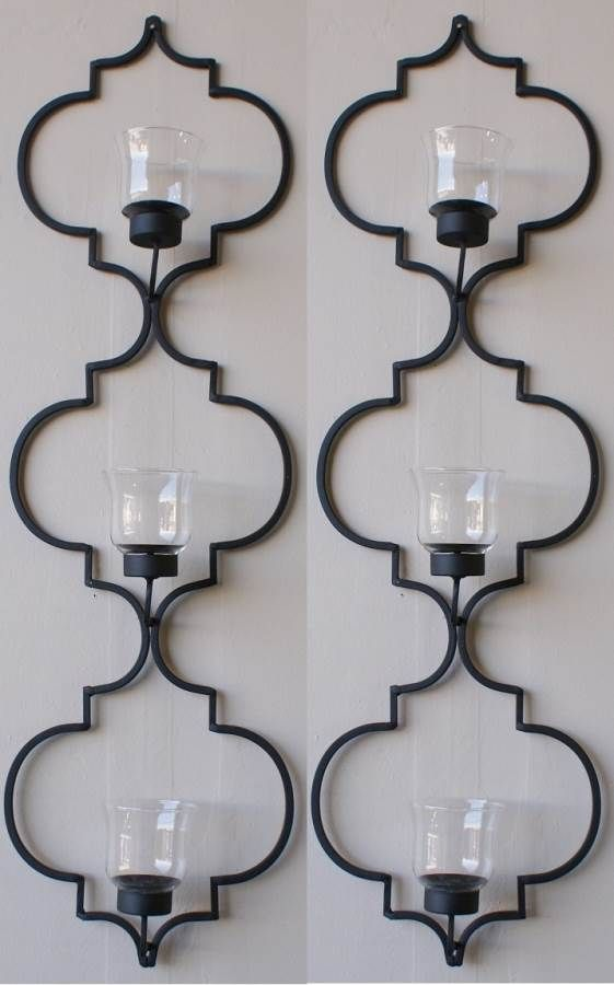 Iron Wall Decor Powder Coated With 3 T Lights Candle Wall