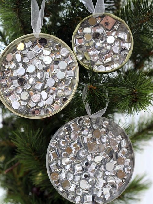 Simple rhinestone recycled ornament craft using lids and Dimensional Magic