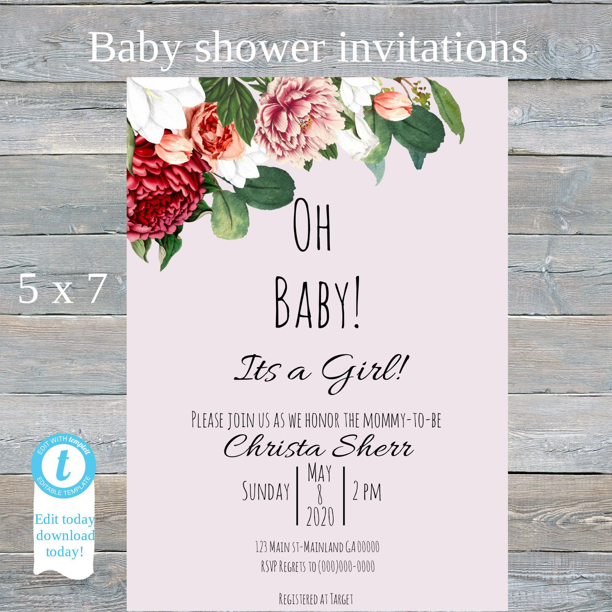 Digital baby shower Invitation, Oh BABY Blush,Peony, Edit today download today!