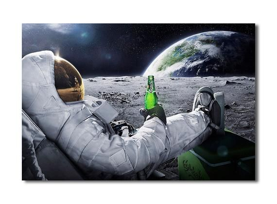 Astronaut drinking beer on moon while watching to earth - Canvas Wall Art Framed Print - different s