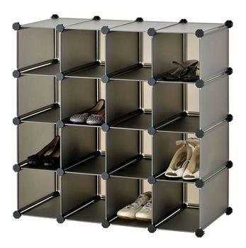 Brown Color Shoe Storage Boxes Cube Interlocking 16 Pairs Shoes (FH AL16400)