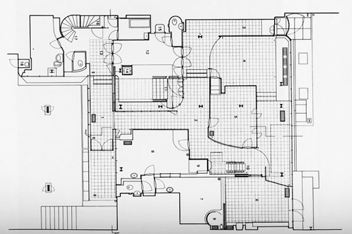 Floor plan for the maison de verre by pierre charreau in paris note the similarities to le - Le verre maison ...