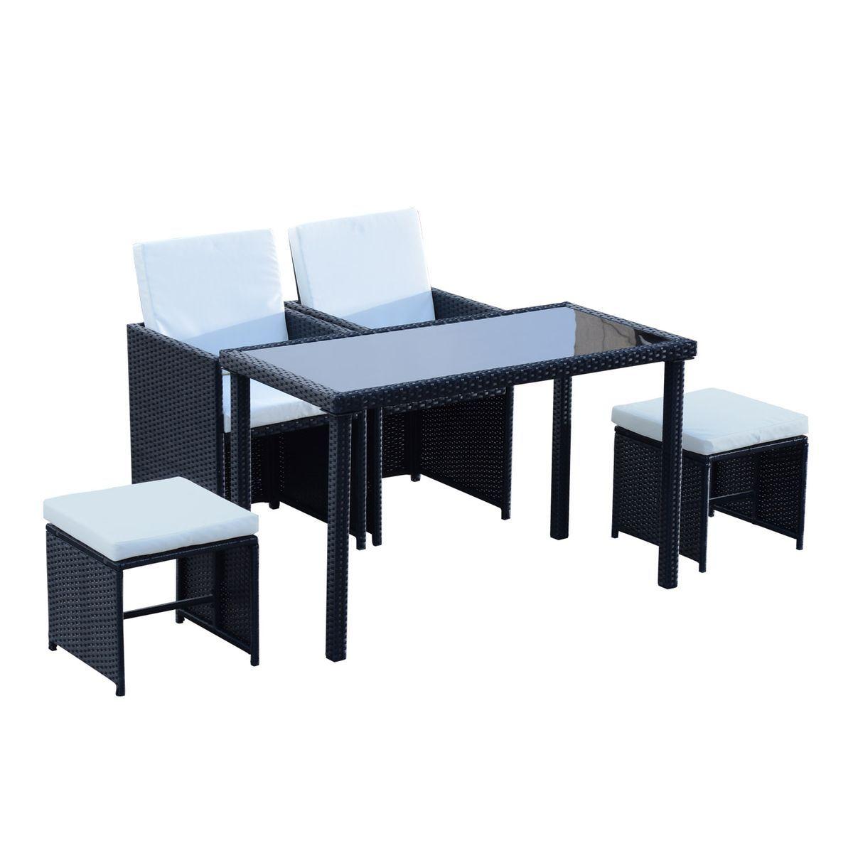 Ensemble salon de jardin encastrable 2 fauteuils monoblocs + ...