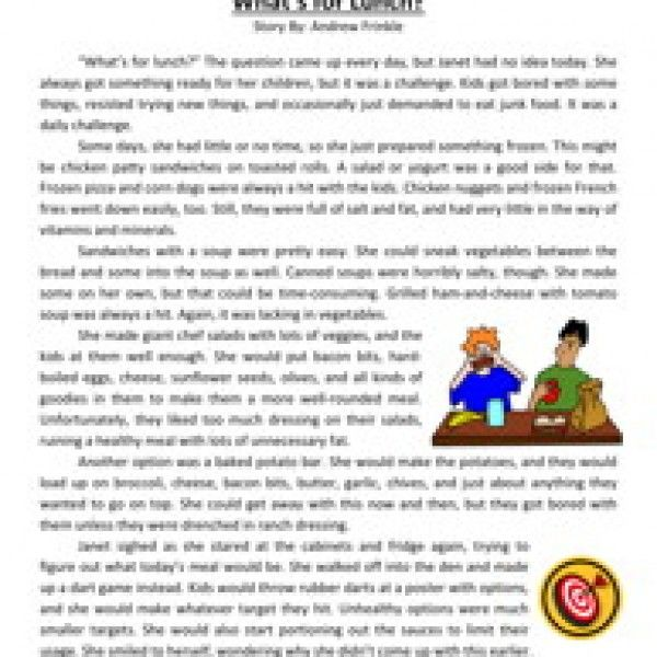 What's For Lunch? Third Grade Reading Comprehension Worksheet ...
