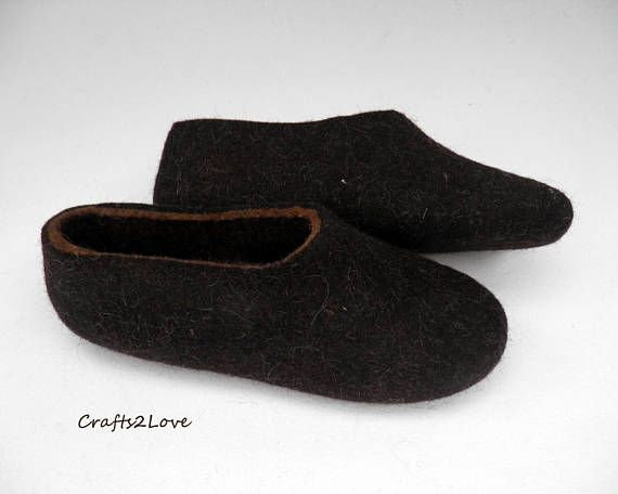 db403eaec22 Felted slippers Felt wool slippers men Home shoes Dark brown Eco ...