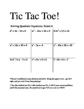 Solving Quadratic Equations Tic Tac Toe | Review games, Student ...