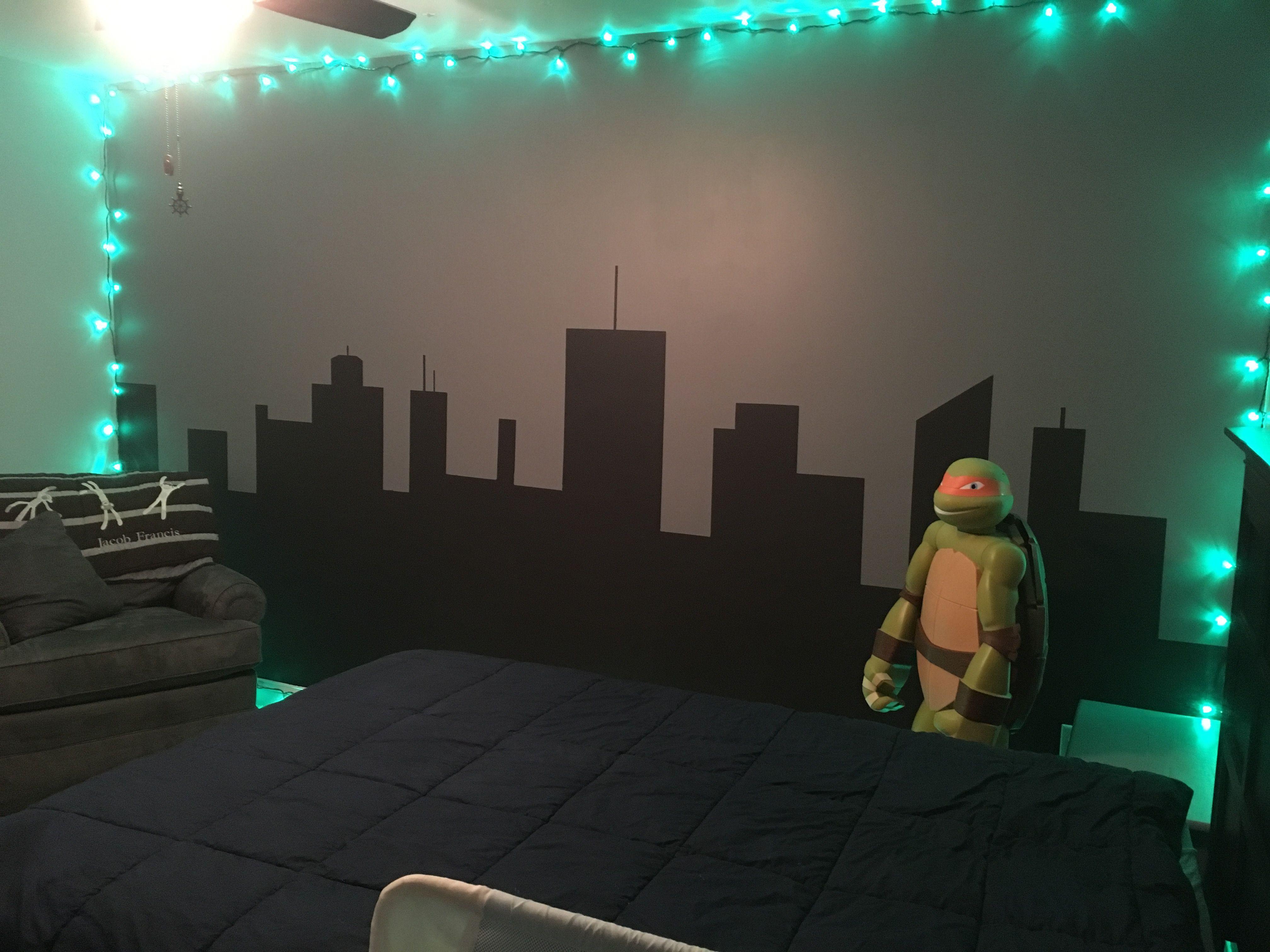 Ninja Turtle Bedroom Skyline Wall Turtle Bedroom Turtle Room Ninja Turtle Bedroom
