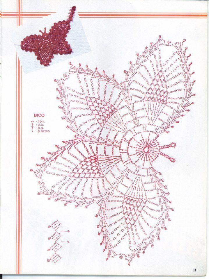 Metulj/Butterfly | Crochet/Kvačkanje | Pinterest | Mariposas, Motivo ...