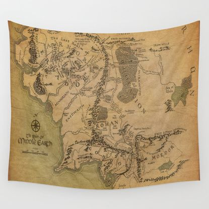 Map Of Middle Earth Wall Tapestry Tapestries Tapestry Wall