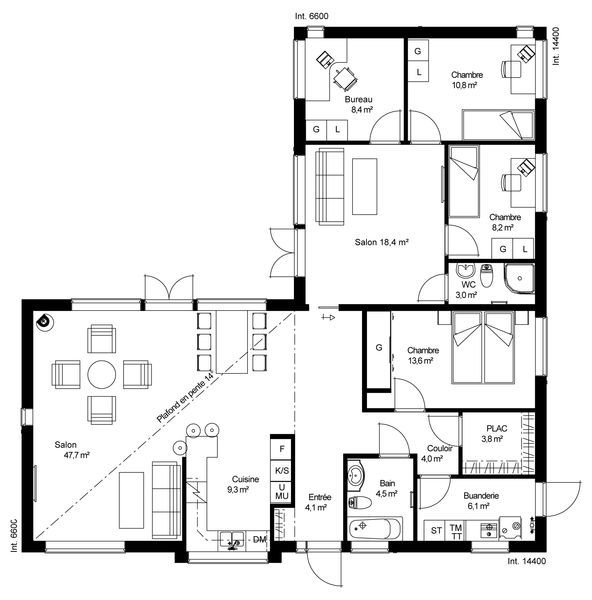 Plan de maison ossature bois plain pied maison modernes for Plan maison en l