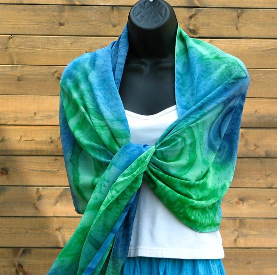Hand Painted Silk Wraps | Under the Sea . . . hand painted silk wrap, shawl