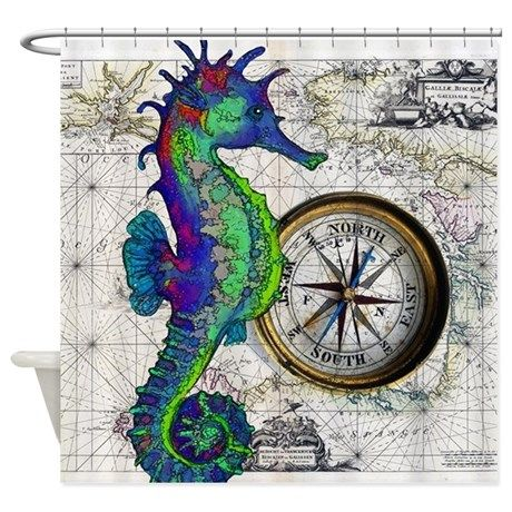 Seahorse And Compass Shower Curtain