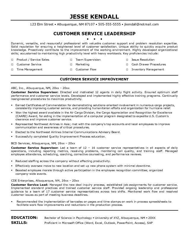 customer-service-resume-6 Resume Cv Design Pinterest - customer service on a resume