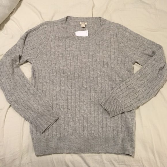 Heather gray wool cable knit sweater Never been worn J. Crew Sweaters Crew & Scoop Necks