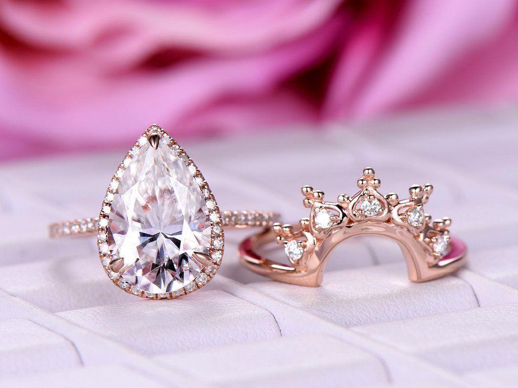 Pear Moissanite Engagement Ring Sets Tiara Wedding Band 14K Rose ...