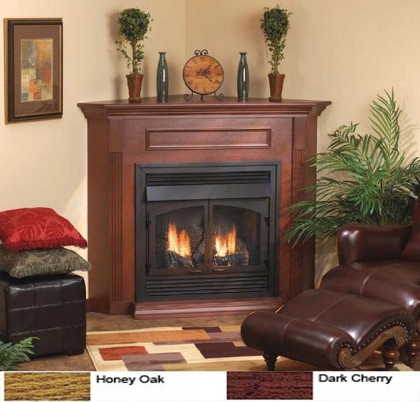 Smartline 32 Inch Ventless Gas Fireplace Remote Ready With Corner Surround And Corner Gas Fireplace Corner Fireplace Living Room Fireplace Mantel Surrounds Ventless gas fireplace entertainment center