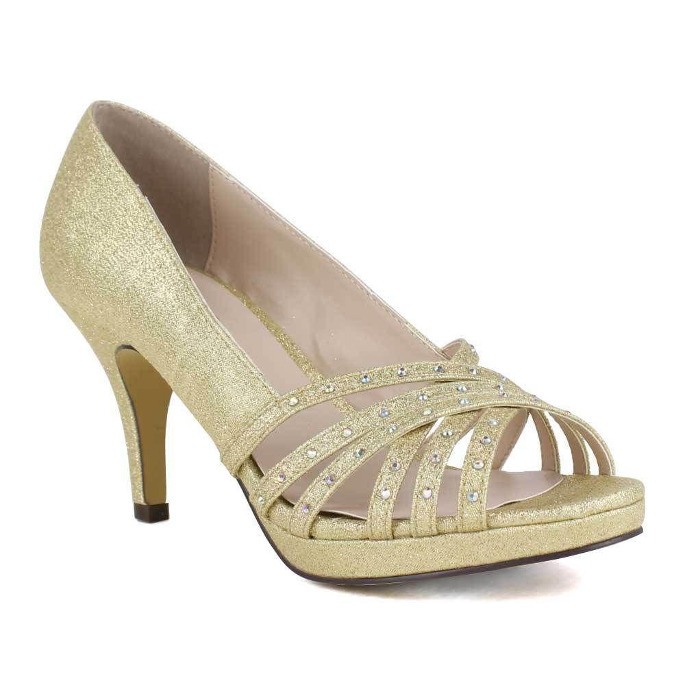 Celeste Women's Sanyo 03 High Heel Open Toe Shining diamond