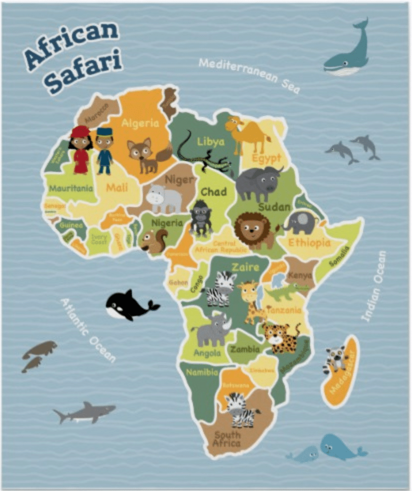 Kids Map Of Africa 7 Super African Culture Children's Books | Map poster, Africa map