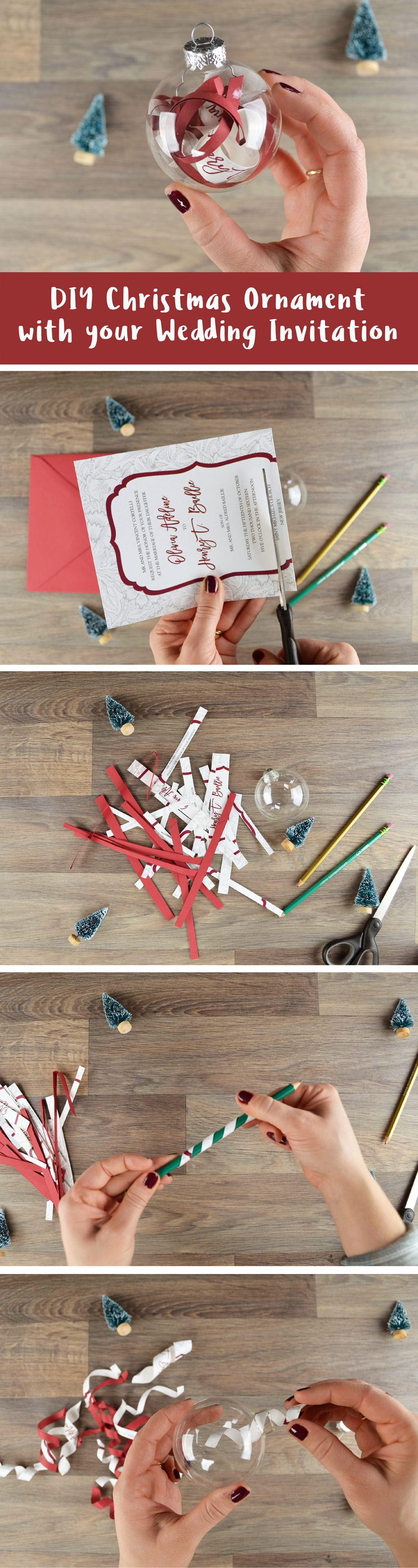 Reuse your wedding invitations with this fun DIY Christmas ornament project! A super easy and affordable way to create a special first married Christmas ornament and keepsake | http://blog.cardsandpockets.com/2016/12/08/how-to-make-a-diy-christmas-ornament-with-your-wedding-invitation/