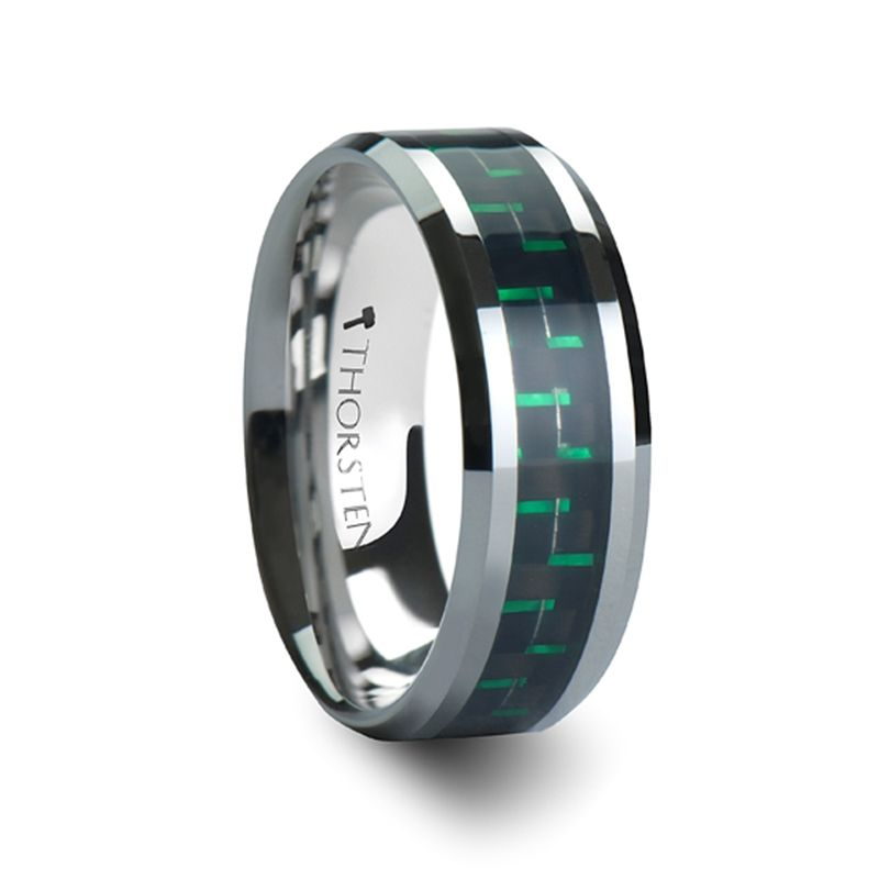 ATRONIUS Tungsten Carbide Wedding Band with Black Green Carbon
