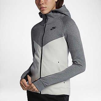 48b43e40a050 New Women s Nike Tech Fleece Full-Zip Hoodie Carbon Heather Bone
