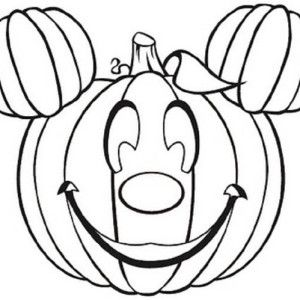 mickey surprised pluto with halloween pumpkins coloring page kids