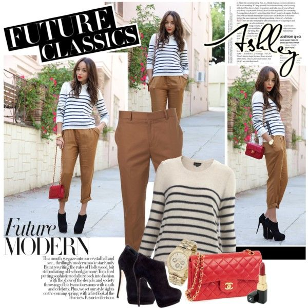 rolled up pants, striped shirt, accent bag. right up my alley.