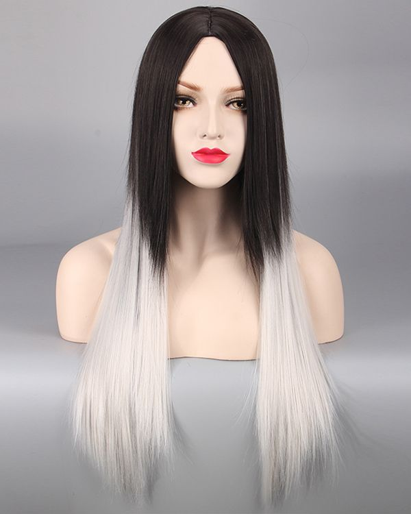 Elegant Black Grey Silver Ombre Cosplay Wig Long Straight Costume Wig For  Women… 0f8d8cb18