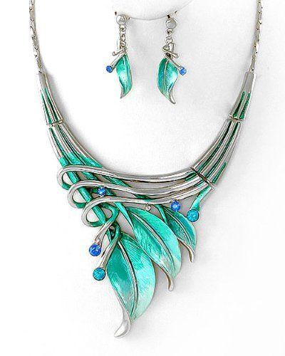 Silvertone Aqua Blue Leaf Statement Necklace and Earrings Set Fashion Jewelry