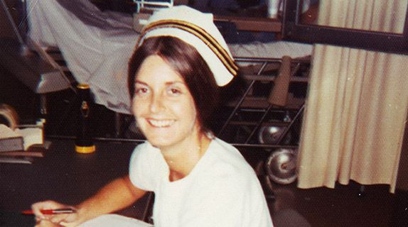 Aline Holmes while serving at the Navy's trauma center, where she treated veterans wounded in Vietnam.