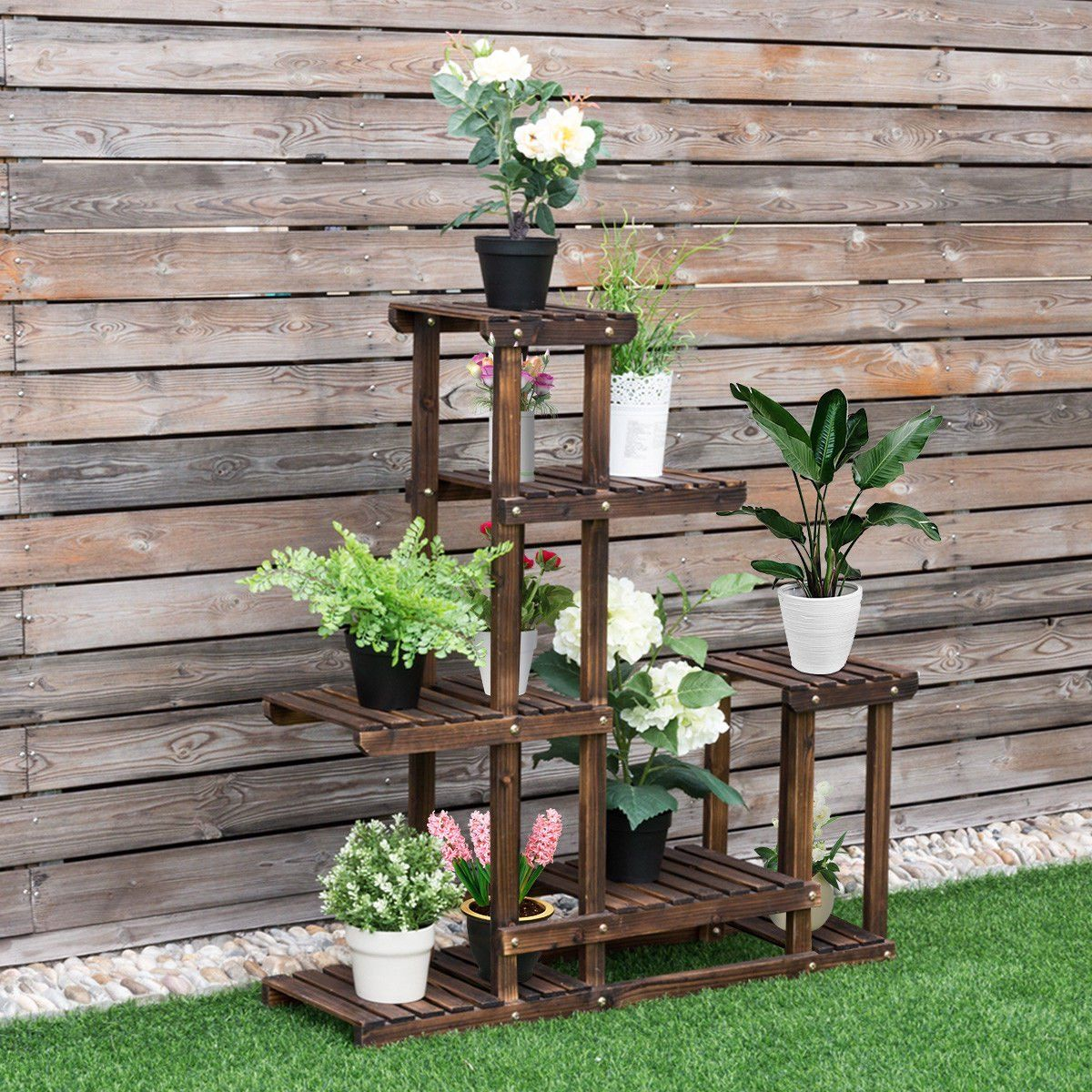 Costway Outdoor Wooden Flower Plant Stand 6 Shelves Walmart Com Wooden Plant Pots Wooden Plant Stands Plant Stand