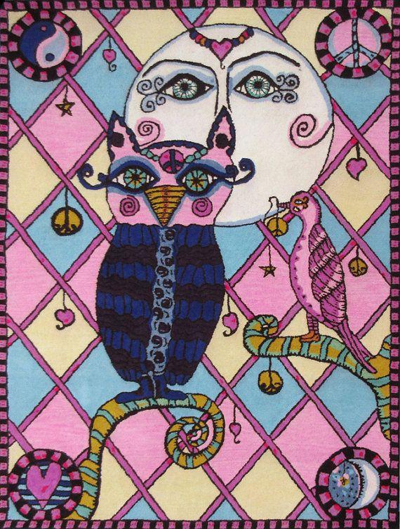 Teppich Eule  Hog Farm ca.180x240 cm  Hippie 1.850,00 € von ColoristaModerna. Das schöne Motiv ist ein Design der Künstlerin Dawn Collins.