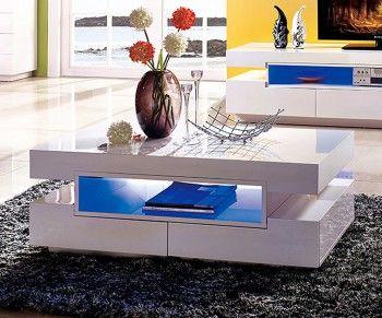 Delife De Wohnzimmer Tisch Weiss Couchtisch Weiss Hochglanz Couchtisch Led