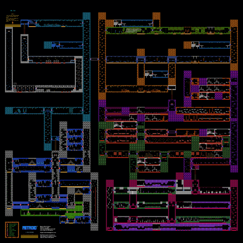 Nes Metroid Map Metroid Poster Map 24