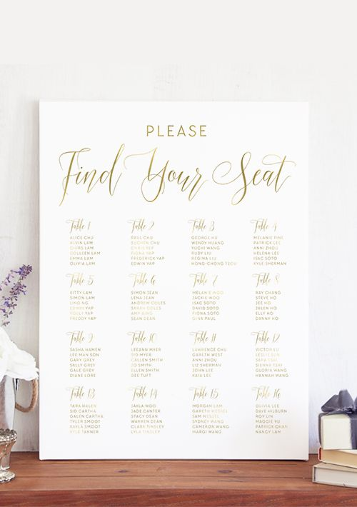 The Carolyn Wedding Seating Chart features dynamic type for an elegant yet modern look. It's the perfect way to direct guests to their tables. Included in the design are all the guests names and tables.