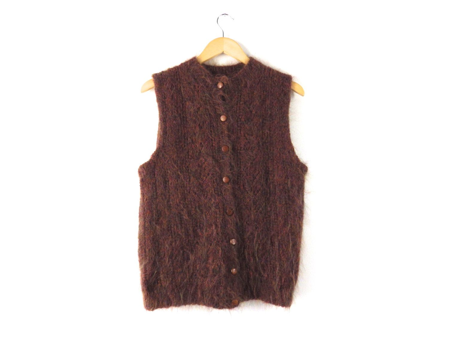 70s Fuzzy Mohair Sweater Vest with Wooden Buttons - Earth Tone ...