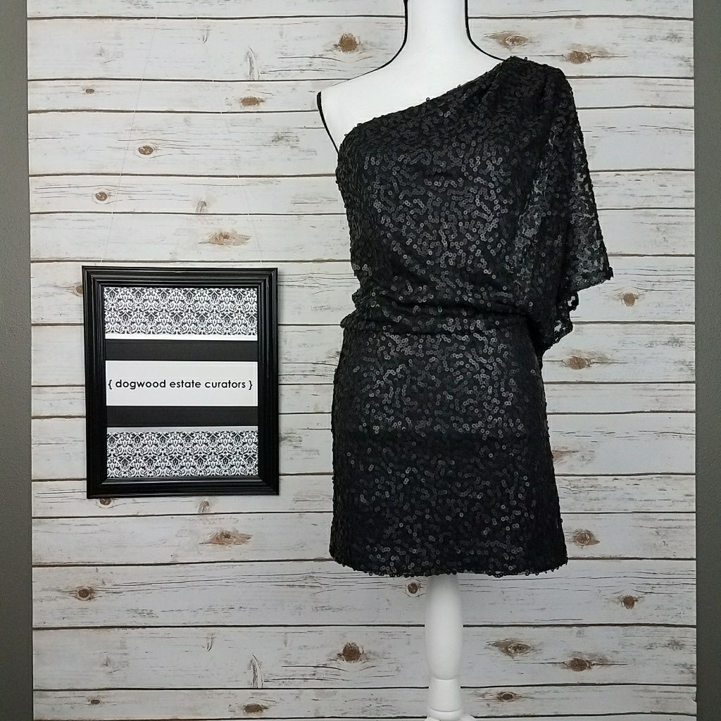 {Jessica Howard} Black Sequin One Shoulder Dress