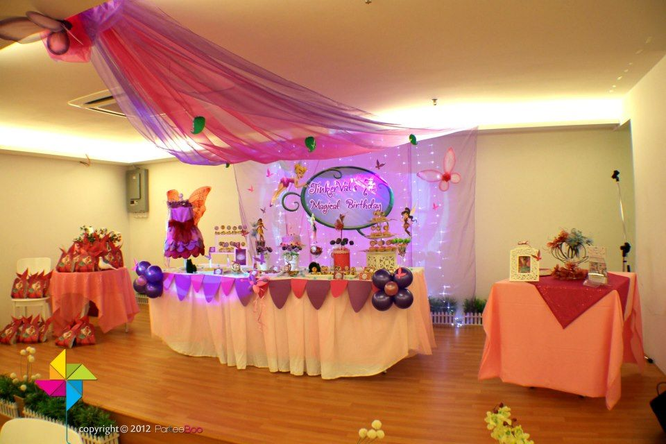 Backdrop, Cake/Candy Table & Decor Setup for a Tinker Bell ...