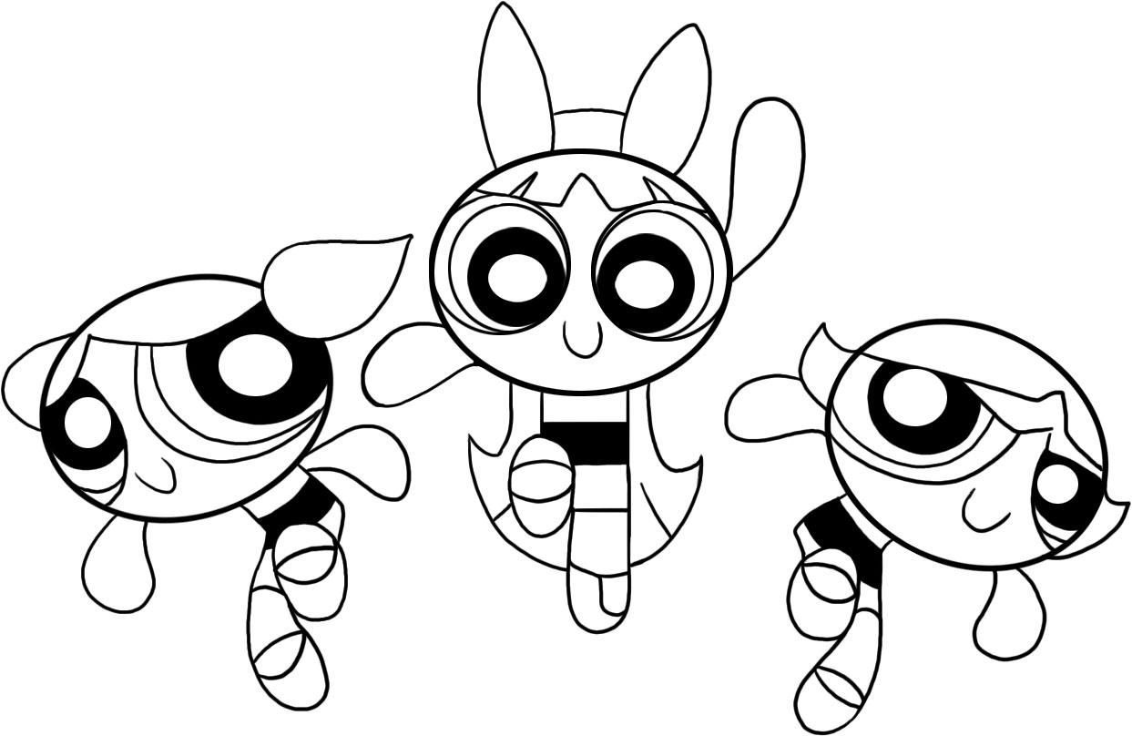 Powerpuff Girls Joyful Coloring Pages For Kids Printable