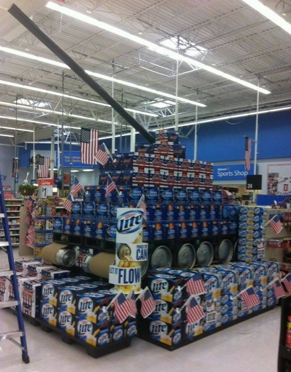 An Elaborate Beer Display Setup as a Tank Because America | The Big Lead